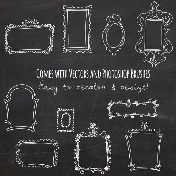 Adorable vintage, hand drawn doodle frames in chalkboard style with a bonus 12x12 chalkboard paper background! Perfect for photo albums and photography portfolios as well as blogs and websites.  Easy to customize colors and sizes, with nice big .PNG files as well as vector versions! And even easier to apply to your creations with bonus Photoshop brushes!  This pack inlcudes:  ♥ 10 white doodle frames: .PNG + Photoshop and Illustrator Files ♥ 10 overlays for cropping: .PNG + Photoshop and…