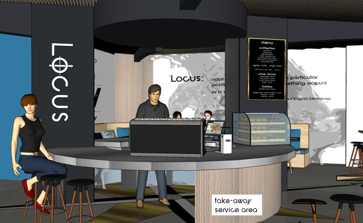 takeaway service area.  Locus Café, Manly project.  Lisa Banducci Design.