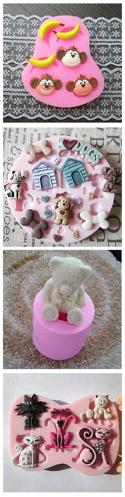 How much do you usually spend on kids birthday cakes? Impress your family by a home-made cake. Use various animal shape baking mold to add creativity to it. Monkeys, dogs, cats, teddy bears and many other cute baking molds are on stock, just click on the picture to see them.