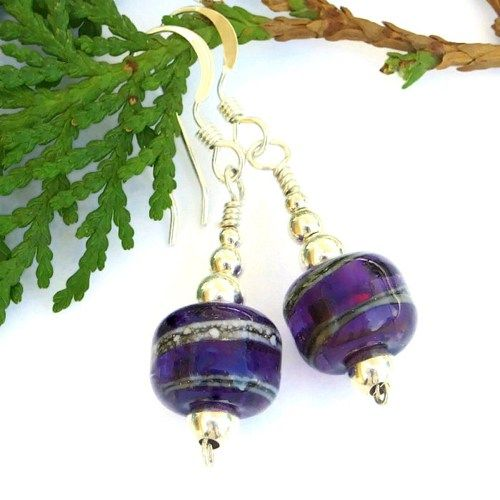 Purple Lampwork Artisan Handmade Earrings Sterling Beaded Jewelry OOAK | ShadowDogDesigns - Jewelry on ArtFire