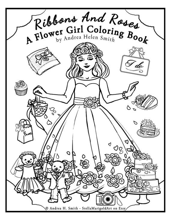 Flower Girl Coloring Pages Etsy | flower girl coloring books ...