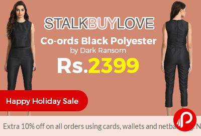 StalkBuyLove #HappyHolidaySale is offering Co-ords Black Polyester by Dark Ransom at Rs.2399 Only. Unlined, Zipper at back and side, Elasticated at back, Pocket at side. Extra 10% off on all orders using cards, wallets and netbanking. No coupon required.   http://www.paisebachaoindia.com/co-ords-black-polyester-by-dark-ransom-at-rs-2399-only-stalkbuylove/