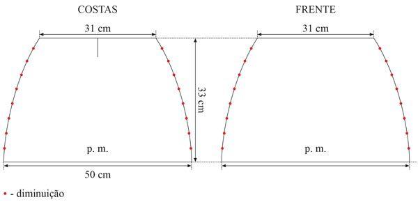 Material: Fio Cisne Passion (nov. 100 g): 4 nov. na cor: 00110 (cinza) Agulha para tricô Corrente Milward nº 7; Agulha para costura Tapestry Corrente Milward nº 16; 2 botões. Tensão do ponto: 10 x 10 cm = 14 p. X 16 carr. (medidos sobre o p. m.). Abreviaturas e pontos empregados: p. –