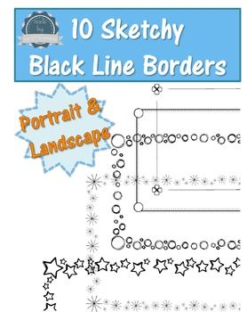 This pack contains 10 sketchy style black line borders- 5 different designs, each in portrait and landscape. These borders can be used for personal and commercial use, for sale in your TPT products. These borders cannot be resold as is and credit must be given by using our logo and a clickable link back to our store.