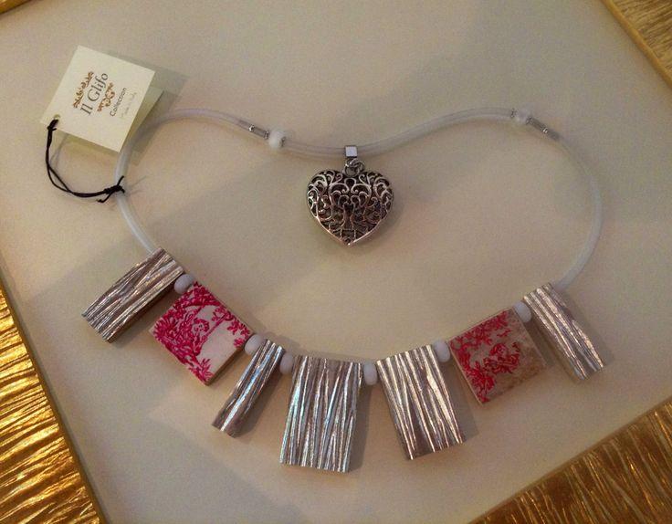 Collane d'autore: legno, argento e colore - Necklace: wood, silver, color