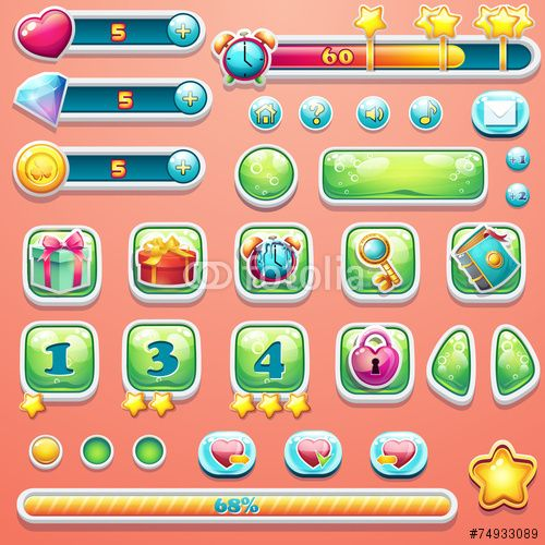 Вектор: A large set of progress bars, buttons, boosters, icons for user