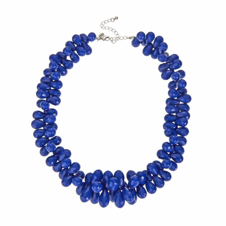 Laura Ashley Blue Bead Statement Necklace #ss16