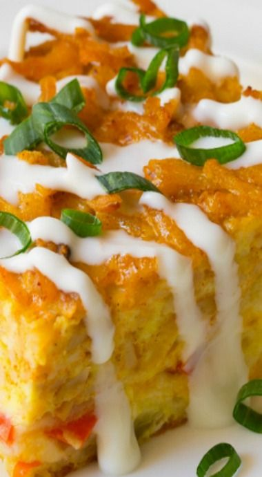 Mexican breakfast casserole with hash brown top (Southern recipes)