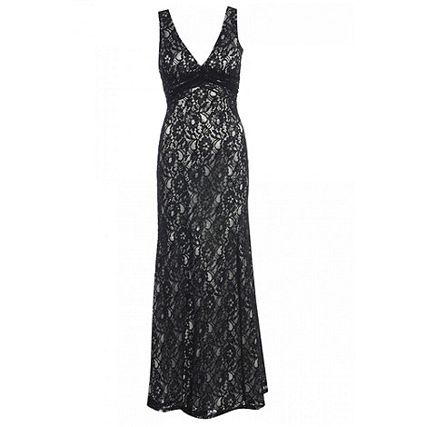 Quiz Black Lace Split Maxi Dress- at Debenhams.com