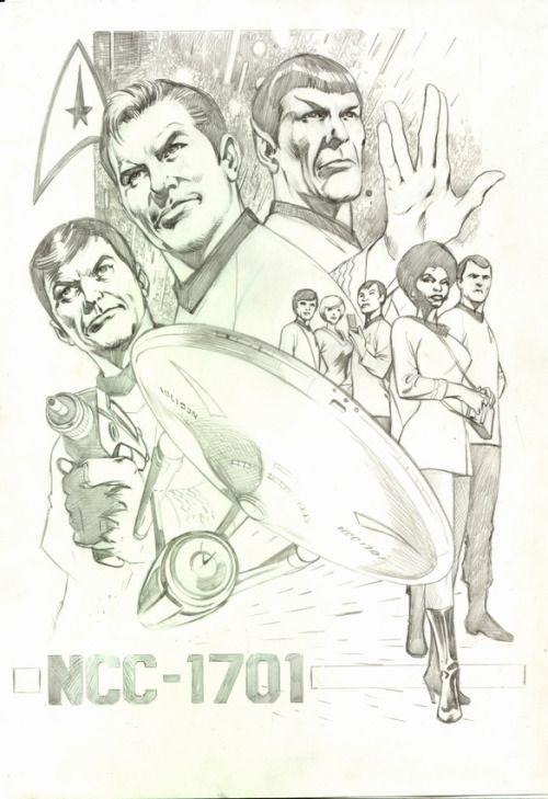 goshyesalandavis:  This is a sketch of the cast of the original Star Trek, drawn by Alan Davis. I would pay good money to see Alan Davis draw a Star Trek comic …