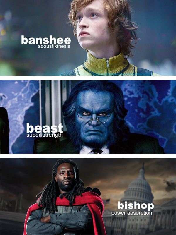 X-Men movie saga characters (Marvel comic book's superheroes & supervillains) and their main superhuman powers. Mutant and proud.