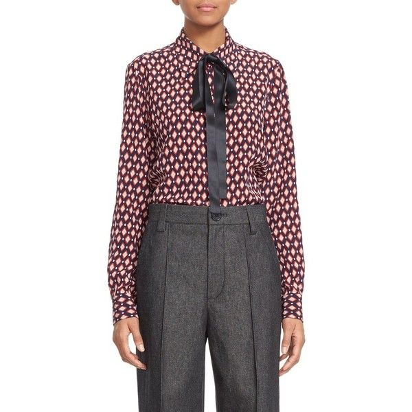 Women's Marc Jacobs Print Silk Tie Neck Blouse ($425) ❤ liked on Polyvore featuring tops, blouses, multi, tie neck blouse, neck-tie, tie neck shirt, silk neck ties and neck tie blouse
