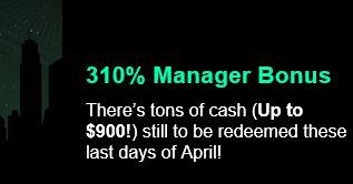 310% Deposit Match Bonus up to $900 at Uptown Aces Casino