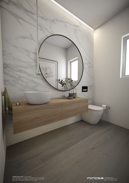 Off-centred mirror - so much more practical than over the sink.  Loving the oversize.  Minosa Design: Powder Room - The WOW bathroom