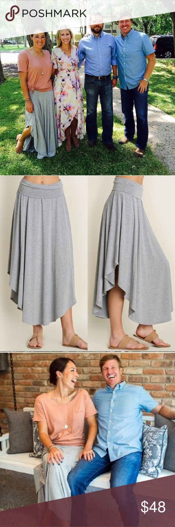 Beautiful Rae Maxi Skirt This is almost the exact skirt Joanna Gaines wears in Fixer Uuper!   I love it so much!!!  As seen in the photos, the skirt comes higher on the sides. Skirts Maxi