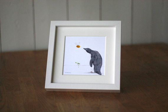 Card with penguin and bumble bee in arctic by AneIllustration