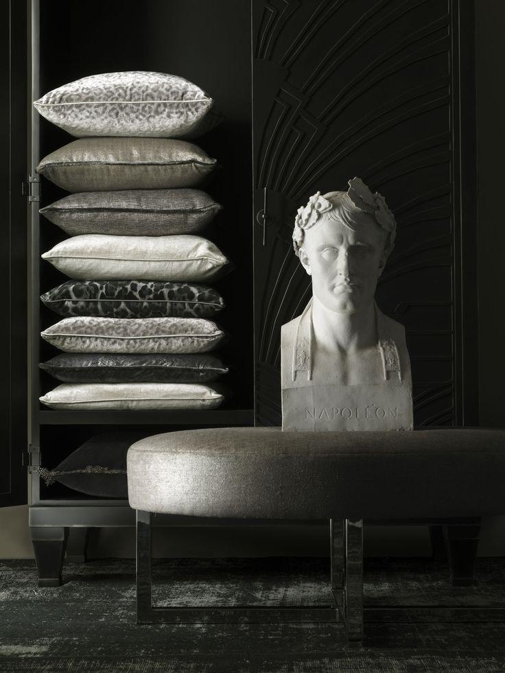 #andrewmartin #furniture #interiordesign #decor #ottoman #bench #pillows #grey #pattern
