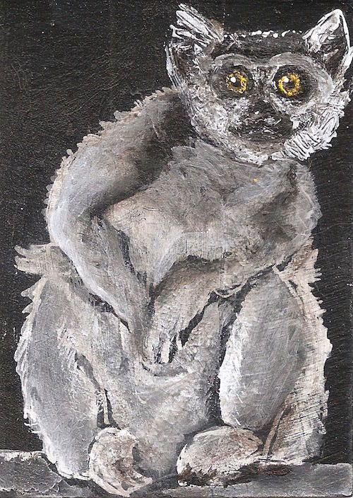 ACEO Lemur Monkey Primate Animal Ghost Jungle Painting Art by Penny Lee StewArt #Miniature