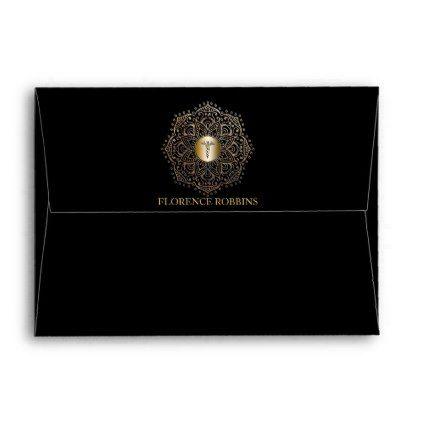 Nurse Graduation RN LPN Caduceus Black Gold 5x7 Envelope envelopes custom unique diy cyo personalize idea envelope