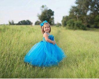 TURQUOISE TUTU DRESS - Flower Girl Gown - Pageant Girl Dress - First Birthday Dress - Baptism Gown - Wedding Dresses - Blue Tutu Dress -