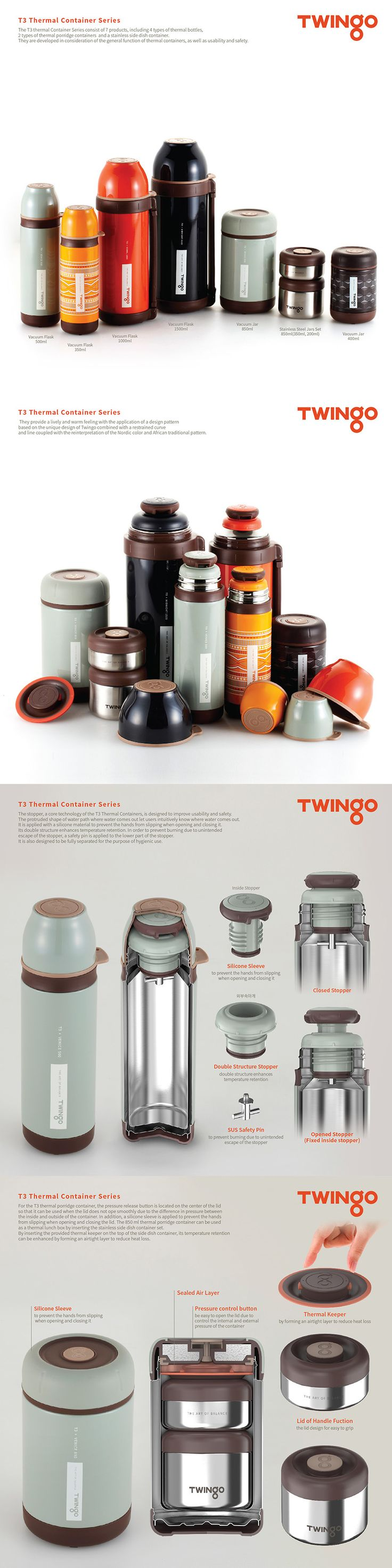 Twingo T3 Thermal Container Series, Vacuum flask, Thermos, Food container