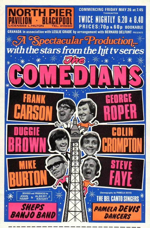 Poster, The Comedians, North Pier, Blackpool. Summer season 1972. Frank Carson, George Roper, Duggie Brown, Colin Crompton, Mike Burton, Steve Faye.