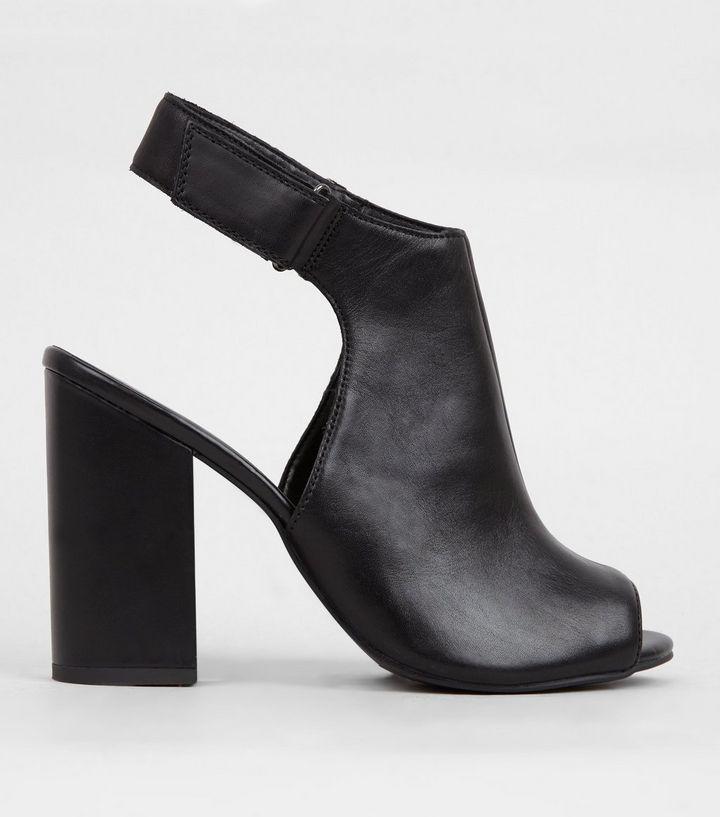 Black Leather Elasticated Sling Back Heels | New Look