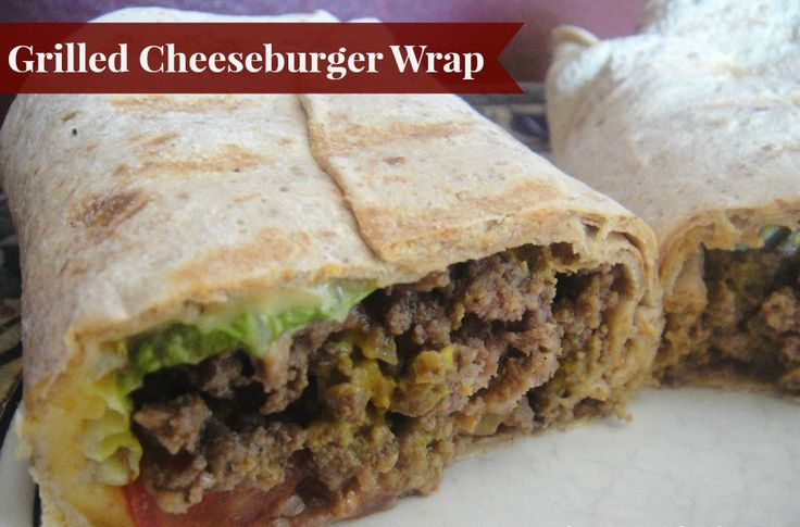 Healthy grilled cheeseburger wrap