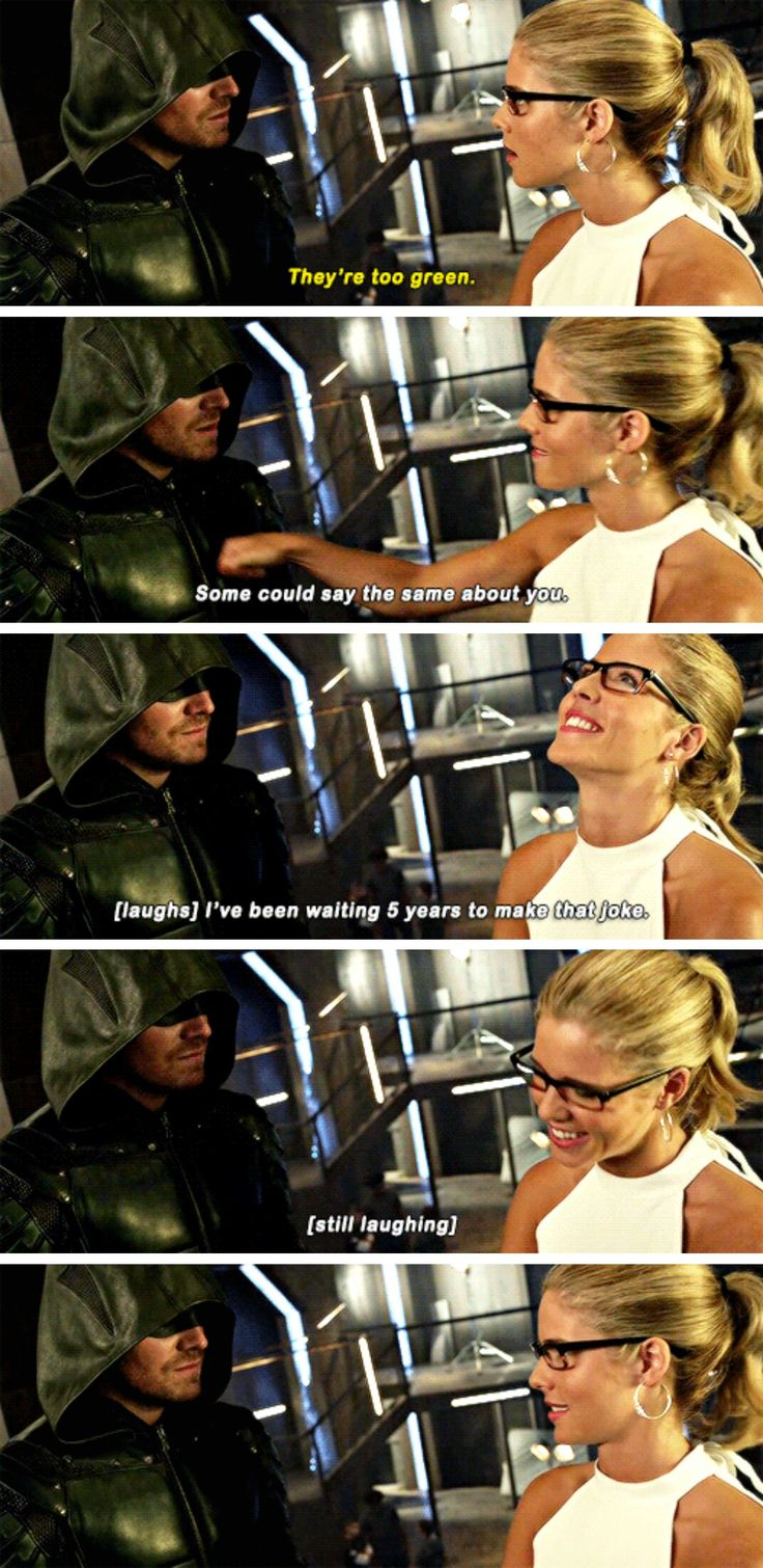 """Some could say the same about you. I've been waiting 5 years to make that joke"" - Pure Felicity and Oliver #Arrow"