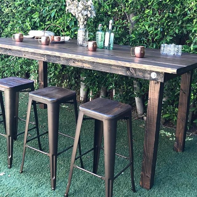 Awesome backyard set up of our high boy farm tables and industrial stools. Big Thanks to @sariti.w  #industrial #eventdesign #farmtable #rusticdecor #rusticwedding #rustic #barstool #bar #eventrentals #partyrentals #designer #opusrentals #evedeso #eventdesignsource - posted by Opus Event Rentals https://www.instagram.com/opusrentals. See more Event Rentals at http://Evedeso.com