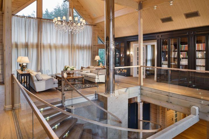 Просторный и светлый загородный дом на Медном озере от дизайн студии FullHouseDesign.