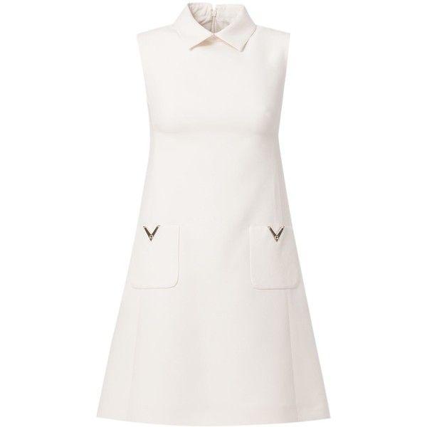 Valentino 'Rockstud' a-line dress ($2,300) ❤ liked on Polyvore featuring dresses, valentino, vestidos, white, zipper back dress, no sleeve dress, sleeveless dress, sleeveless a line dress and a line dress