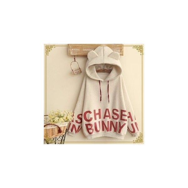 Lettering Printed Hoodie ($34) ❤ liked on Polyvore featuring tops, hoodies, sweatshirt, women, sweatshirt hoodies, hoodie top, beige hoodie, cotton hooded sweatshirt and sleeve hoodie