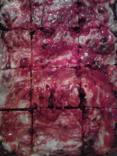 Zombie Flesh brownies for Walking Dead party!!!  (Red Velvet--Cream Cheese)