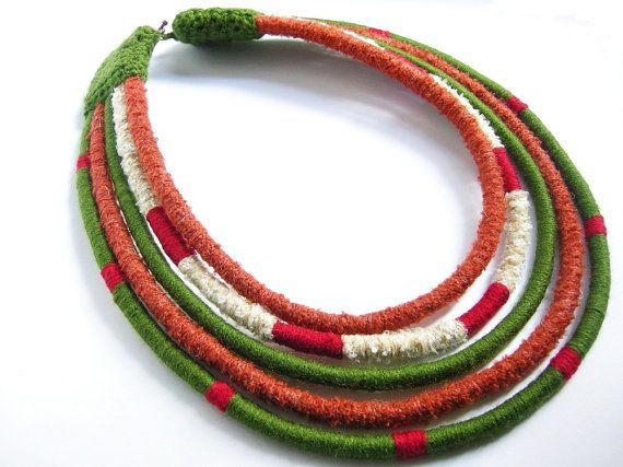 Masai jewelry.Autumn.Africa.Yarn-wrapped necklace.Tribal.Ethnic necklace.Boho.Hippie.Thread-wrapped.Multi strand.The colors of autumn.