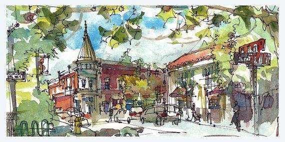 Downtown Los Gatos, California. watercolor, pen and ink sketch.