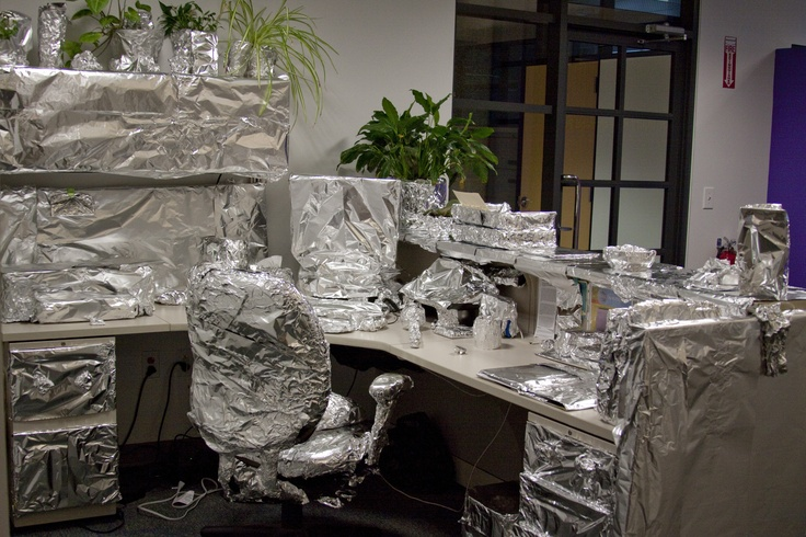 Tin Foil Desk Absolutely Everything On Her Desk Was