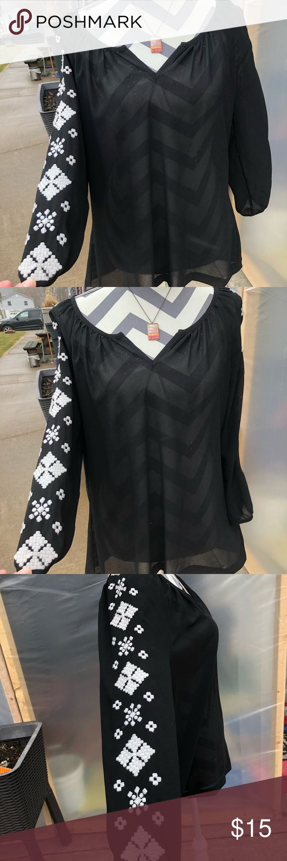Old Navy Black Sheer Blouse - Large Old Navy :: Large Black sheer blouse with white embroidery design down both sleeves...GORGEOUS blouse! You want to own this pretty!  Just dry cleaned. Like new condition Old Navy Tops Blouses