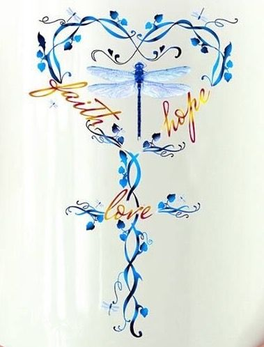 Dragonfly painting with cross, heart, and words faith hope and love, prophetic art.