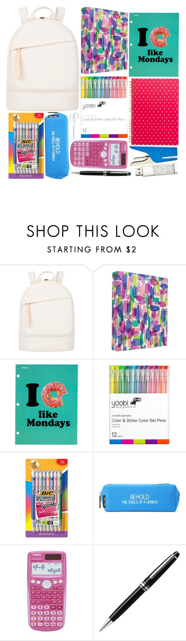 """Back to School Supplies"" by prettyorchid22 ❤ liked on Polyvore featuring interior, interiors, interior design, home, home decor, interior decorating, Want Les Essentiels de la Vie, Mead, Yoobi and BIC"