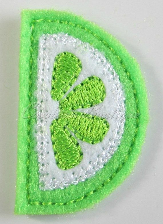 Lime slice feltie mini embroideryinstant by CocobeanBoutique, $3.00