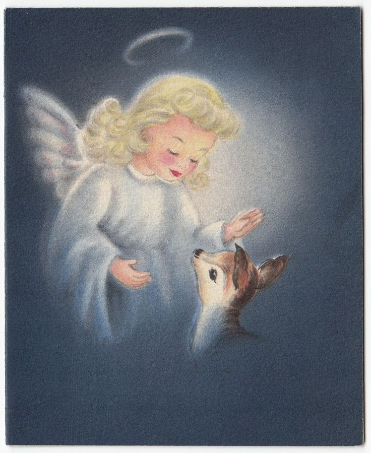 Christmas •~• vintage deer & angel Hallmark greeting card