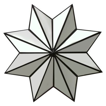 Faceted Reflective Sculpture 30x30 Mirrored star wall decor