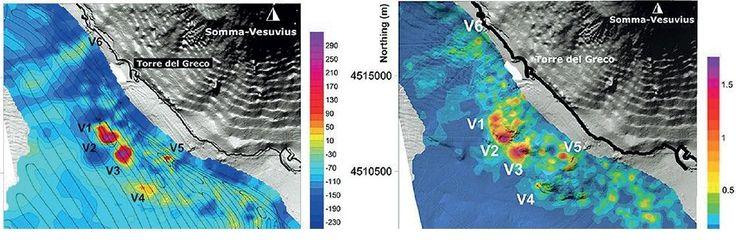 Napoli, scoperti sei nuovi vulcani «Adeguare i piani di rischio» - I sei vulcani, contrassegnati sulle slide con le sigle V1-V2-V3-V4-V5-V6, formano una semicorona in mare proprio lungo il tratto costiero che va da Ercolano alla antica Oplonti.