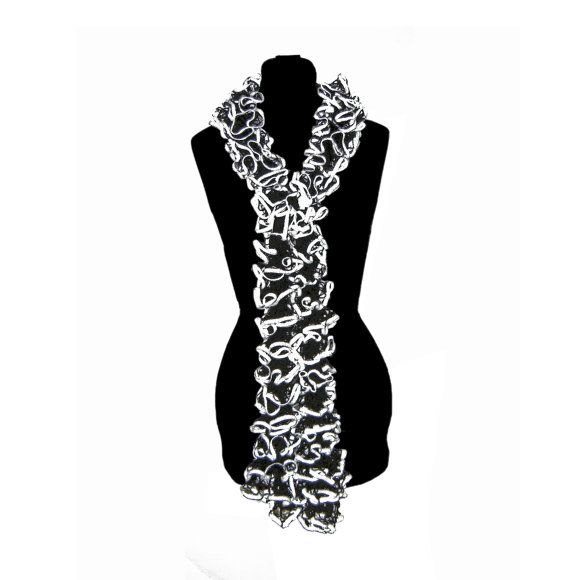 Black and White Ruffle Scarf Neck Warmer for Ladies Womens