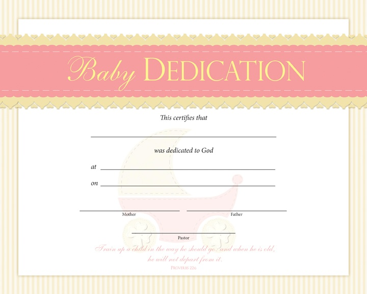 Baby Dedication Certificate Pentecostalpublishingcom