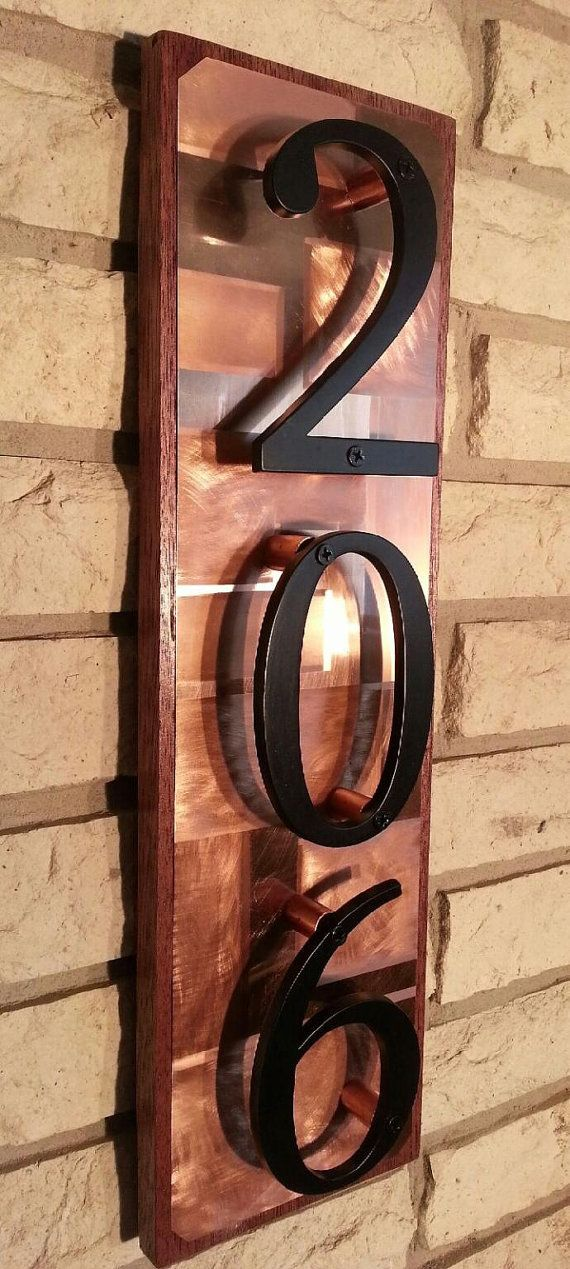 House numbers  Copper house number address plaque copper on mahogany by J2Kmetal