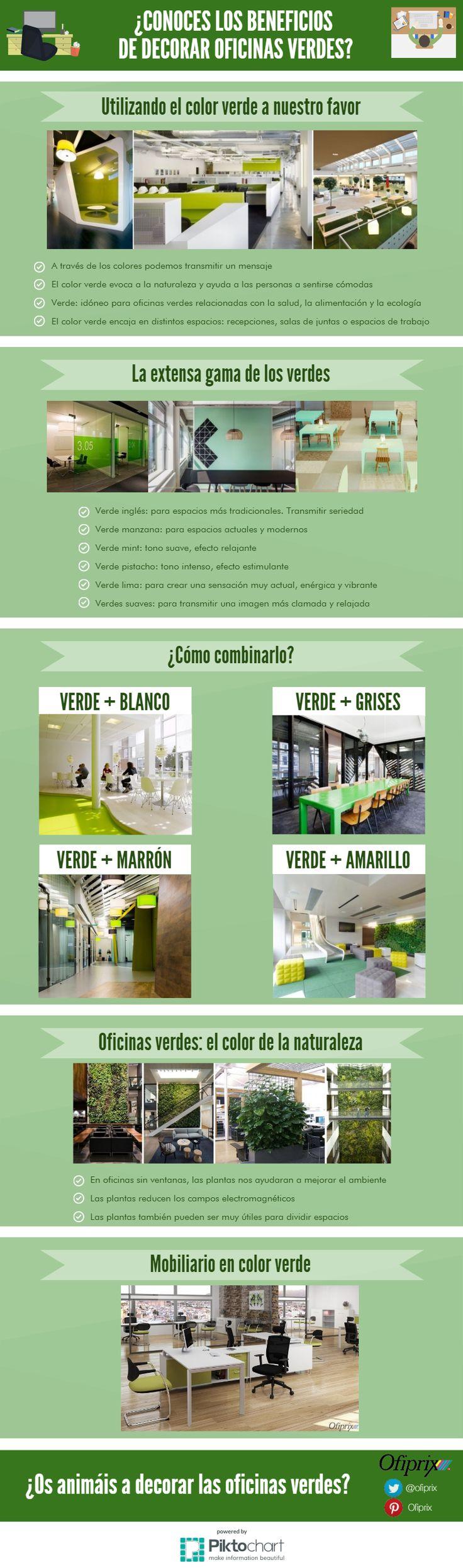 Decoración de oficinas verdes #infografia