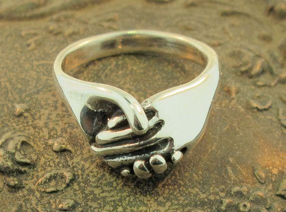 Anello argento - gioielli di amicizia anello - amicizia - dono d'amore - madre figlia regalo - mano a mano