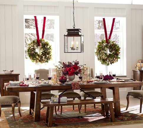 "Rustic Holiday Table Setting From Pottery Barn: Benchwright Extending Dining Table, 86 x 42"" Rustic Mahogany stain"